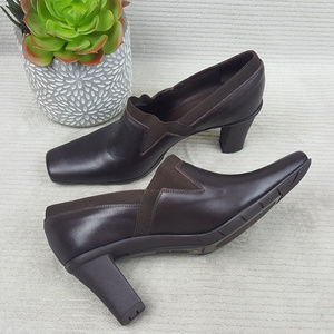Sesto Meucci Brown Leather Square Toe 3 Inch Pumps